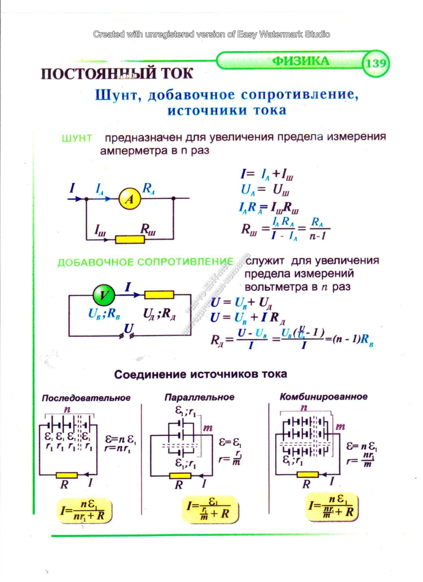 Схема включения измерительного механизма с шунтом